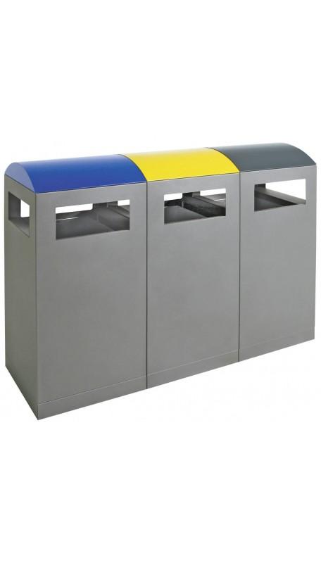 90 L, für Außenbereiche, 3er-Station, anthrazitgrau/blau-gelb-anthrazit